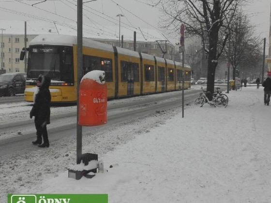 Winterlandschaft in Berlin mit Flexitytram 9005