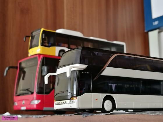 Modellbusse Setra und Mercedes